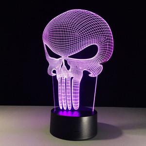 Creativo Punisher Maschera 3D Stereo visione notturna chiara 3D lampada decorativa LED luce di notte regali personalizzati