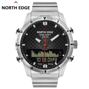 Uomini Dive Sports Digital Watch Orologi da uomo Esercito militare Luxury Full Steel Business Impermeabile 100m Altimetro Bussola North Edge J190628