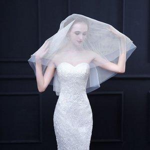 Gelin Tül Gelin Veil 2 Katman Düğün Dekorasyon 2019 Voile de mariée için Blusher Basit Kısa Düğün Veil