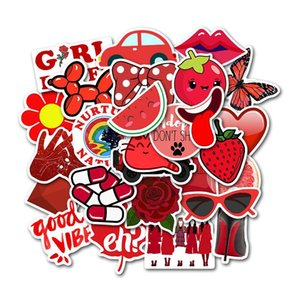 50PCS / مجموعة الأحمر VSCO فتاة الطازجة الصغيرة ملصق حقيبة حالة العربة محمول الكتابة على الجدران ملصق بولي كلوريد الفينيل ملصقات مضادة للماء