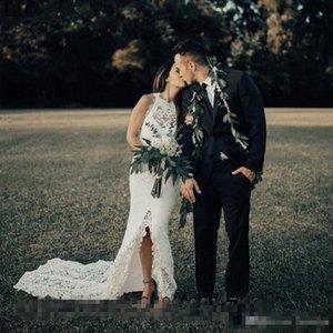 2019 Полное кружевное высокое низкое русалка свадебные платья без рукавов часовня поезд жемчужина шеи сад пляж страны Свадебные платья Vestido de Novia