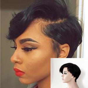 Человеческие волосы короткие прямые парики дешевые полный машина сделала сторона часть маленькие парики шнурка бразильский Пикси вырезать Индийский человеческих волос парик человеческих волос