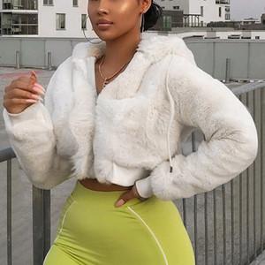 Nadafair cappuccio bianco Teddy cappotto Jas Casual Zipper breve cappotto di pelliccia della peluche di inverno delle donne 2019