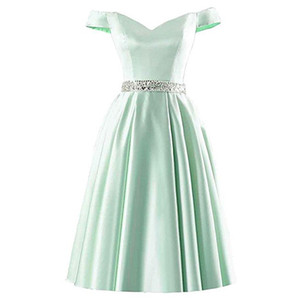 New Arrival Off-shoulder Aqua Bridesmaid Dresses Short A-Line Plus Size Maid of Honor Dresses Beaded Wedding Guest Dresses for Fall