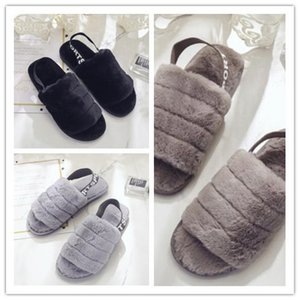 das mulheres Fluff Sim Deslize moda de luxo mulheres Designer Sandals Fluff Sim Plain Yellow Pantoufle Furry Chinelos Slipper Slides flip flops