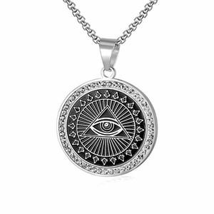 Venda quente única de aço inoxidável olho do mal pendant maçônica praça bússola dos homens AG emblema associação fraterna colar de jóias