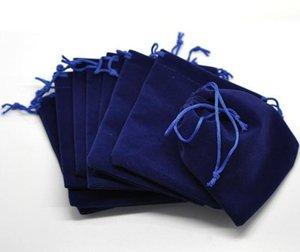 졸라 매는 끈 12x10cm 보석 포장으로 핫 보석 가방 다크 블루 벨벳 파우치는 보석 선물 가방