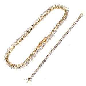 Custom size hip hop 5mm tennis chain copper micro pave zircon single row chain necklace bracelet set men women Jewelry