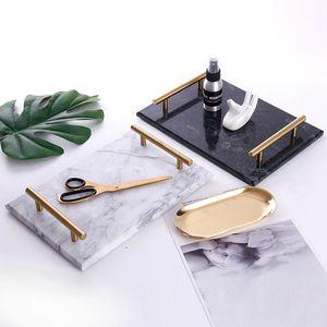 Натуральный камень мраморный поднос золотая ручка сервировочный поднос мраморная тарелка десертный поднос поднос для хранения ювелирных изделий мраморная посуда закусочная тарелка