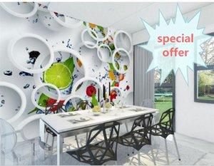 Dimensioni personalizzate Foto 3D Wallpaper Soggiorno Murale Fruit Circle Ristorante Immagine Sfondo Murale Home Decor Creative Hotel Studio Wallpaper 3D