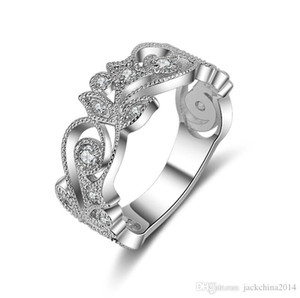 Drop Shipping Luxury Jewelry 925 Sterling Silver 5A Cubic Zirconia CZ Diamond Unique Eternity Women Wedding Flower Band Ring for Lovers&#039