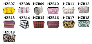Neopren-Cosmetic Bag Wasserdicht Schminktäschchen Blumen Baseball Plaiddruck Handtaschetotes- Travel Kultur Portable Storage Bag Geldbörse