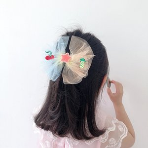Korean Style New Child Hair Clips Gradient Color Mesh Yarn Embroidery Fruit Five-star Bow Hair Pins for Girl Fashion Accessories