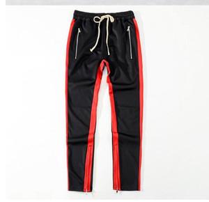 Medo Grosso De Deus Stripe Jogger Zipped Pockets tornozelo Painéis Track Pants Casual Man Esporte calças frete grátis