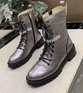 Luxury New JC Womens Crystal Chains Snow Winter Cow Leather Cowboy Fashion Casual Knight Outsole Boots SZ35-40