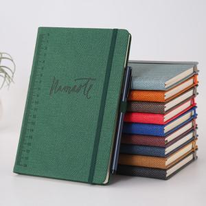 PU Housse en cuir PU A5 Notepads Hard Cover Journal Bloc-notes d'affaires 93 Feuille Texture Tissu couverture Notebooks Agent étudiant