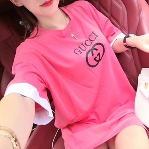 Web celebrity 2020 same faux two short sleeved T shirt loose large T shirt printed color matching round collar Tshirt