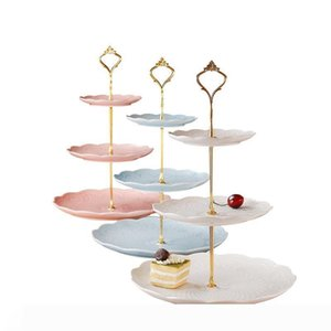 B Fashionable European style 3 Tier Cake Plate Stand Handle Fitting Silver Gold Wedding Party Crown Rod