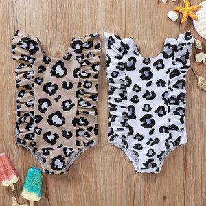 Vieeoease Girls Swimsuit Flower One Piece Swim Ruffles Leopard Print Kids Swimwear Summer Bathing Suit Children Swim CC-702