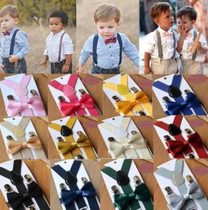 Niños Suspender Boys and Girls Elastic Suspender + Bows Tie 2pcs Conjuntos 65 * 2.5cm 2019 Moda New Boys Gentleman Accessories F8325