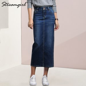 Streamgirl Women Denim Skirt Long Saia Jeans Gonna donna Denim Gonne per le donne Estate Vintage Black Long Gonne donna Saia Y19060301