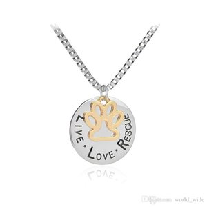 Live Love Rescue letter Love Word dog lover necklace Cat Dog Paw Print Pendant Necklace Mothers Day new fashion
