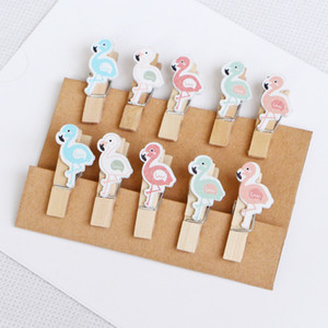 Flamingo Series Wood Clips Cute Small Animal Shape Clips Metal Photo Clips for School Wedding Party Invitation Decoration JZ12