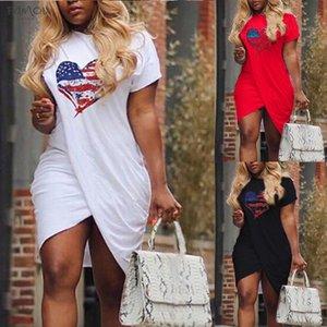 Sale Hot Ladies Casual Love Heart Pattern Flag Print Dress Short Sleeve Split Mini Dress Summer Plus Size Short Sleeve For Women