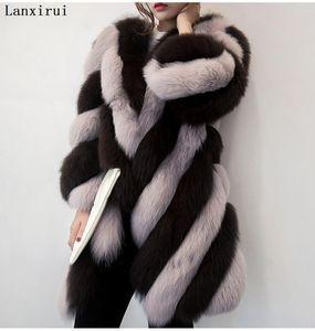Lanxirui langer Winter faux Pelz mit Kapuze langer Hülse Reißverschluss schwarz pelzigem Kunstpelz outwear plus Größe shealing Jacke
