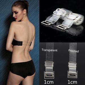 1cm 1Pairs Ombro Bra Strap Com fivela de metal ajustável Transparente Limpar Alça Invisible Underwear Acessórios Hot