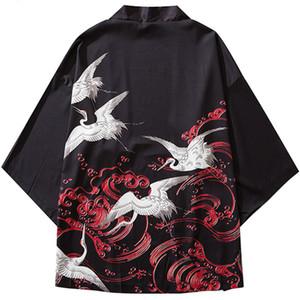Januarysnow giapponese Kimono Giacche Gru Lucky Red Cloud Print 2019 Mens Harajuku Streetwear del cappotto del rivestimento di Hip Hop sottile abito Japan Style Nuovo