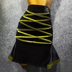 Новый латинский танец юбка Женщины Velvet Юбка для практики Женский Adult Latin Dance одежда Performance Outfit платье партии VDB1332