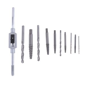 11pcs Screw Extractor Remover Right-Hand Drill Bit Set Com 19 centímetros Tap Wrench