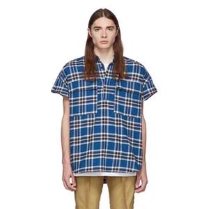 20SS FG Flanell Plaid Shirt Zurück Kleine Stitching Sommer-Kurzschluss Hülse Einreiher T-Stück beiläufige Straße lose Outwear Jacke HFHLCS026