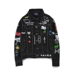 Mens Denim куртка мужская с длинным рукавом Hip Hop Граффити Printed Мода Streetwear Цвет Черный азиатский размер M-2XL