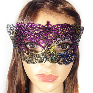 Fashion 16 Designs Rainbow Lace Halloween Half Face Mask Party Decoration Masquerade Masks Craft Party Favor Christmas Event Decor