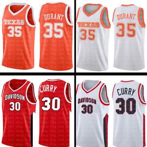 Stephen 30 Мужские Curry 35 Дюрант Джерси колледжа NCAA университета Красный Белый College Basketball Wears Дешевые оптом