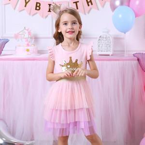VIKITA Marca Crianças Princesa vestido de verão para crianças dos miúdos Lantejoulas Tutu Vestidos Crianças mangas Vestidos Meninas vestido ocasional