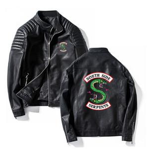 Giacche Serpenti Uomini Riverdale Streetwear serpenti laterali in pelle di marca a sud Southside Riverdale collare di cuoio del basamento