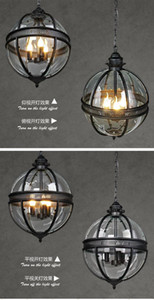 Hot sales Vintage Retro Chandelier Lamp Glass Metal Painting Cafe Loft Bar Living Room Creative Light Luminaire Free shipping