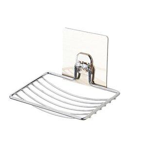 Jabón de acero inoxidable plato de jabón titular Auto Almacenamiento Adhesivo rack Bandeja Placa de cocina de la astilla de ducha para accesorios de baño