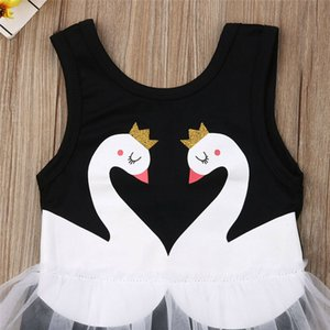 Kids Girls Black Swimwear 2019 Bodysuit Summer Baby Girls Double Swan Print Swimsuit Toddler Tutu Bikini Beach Bathing Suit 1-6T
