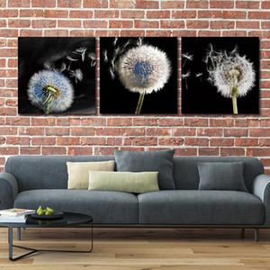 Canvas Wall Art décoration toile de peinture pour le salon BANMU 3 pièces pissenlit mur paysage Photos imprimer HD pas d'image