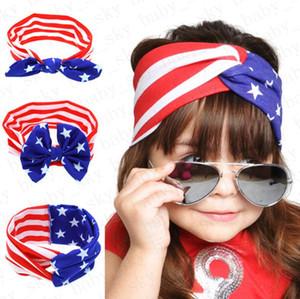 Девочки оголовьем Американский флаг уха кролика диапазона волос Национальный День независимости День Полосатый Звезда Детские Лук Headwrap Аксессуары для волос D52704