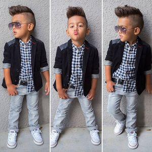 2019 Bebek Erkek Beyler suit coat + Ekose gömlek + kot 3 Parça Giyim Setleri Çocuklar tasarımcı butik giysi Çocuk Kıyafetler C6285
