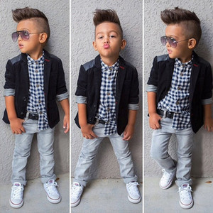 2019 Baby Jungen Herren anzug mantel + kariertes hemd + jeans 3 Stücke Kleidung Sets Kinder designer boutique kleidung Kinder Outfits C6285