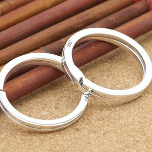 925 Sterling Silver Redonda Keyring Anel Keychain Acessório da jóia DIY Fazendo Dividir o anel chave de corrente acessórios com S925 Stamped