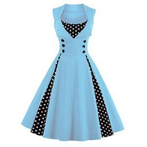 Fashion Femmes 5XL NOUVEAUX 50S 60S Robe Vintage rétro Polka Dot Patchwork Sans manches Sans Soutien Robe rouge Robe rockabilly Swing Fête
