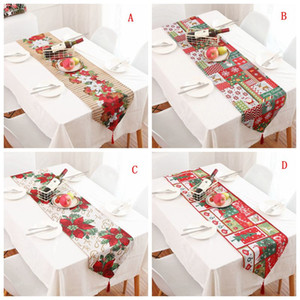 70 * 14inch Noël Chemin de Table Décoration de table imprimé fleurs Drapeau Tassel Chemin de table Nappe de Noël Cartoon Noël napperon BC VT1125
