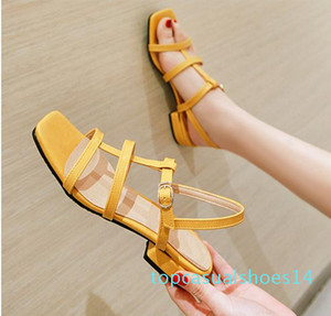 plus size 31 32 to 43 44 45 46 casual style pink T strap low heel sandals luxury women designer slides t14